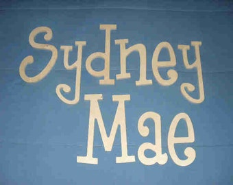 """Wooden Wall Letters - 10"""" Size - Unpainted - Thin-Whimsical Font - Gifts and Decor for Nursery - Home - Playrooms - Dorms"""