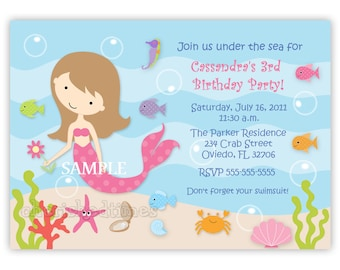 Custom Sweet Mermaid Birthday Party Invitation Option With Picture (Digital File)
