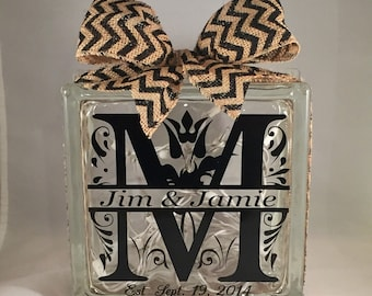 Personalized Wedding/Anniversary Monogram/Initial and Name Gift Lighted Glass Block (8 inch)