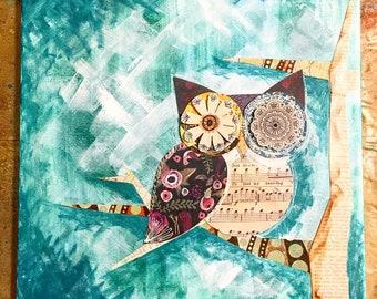 "12"" x 12"" Whimsical Mixed Media Owl Canvas"