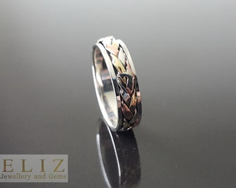 Unique Design Spinner .925 STERLING SILVER Ring with mild Copper and Brass Accents Meditation Antistress  7.5' 9.5'
