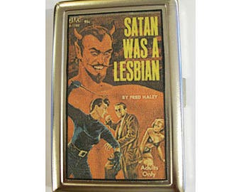 Lesbian pulp metal wallet retro vintage cigarette case ID tote sleaze kitsch