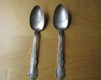 ANTIQUE Teaspoons - ROGERS Set of 2 ALHAMBRA Teaspoons from 1907