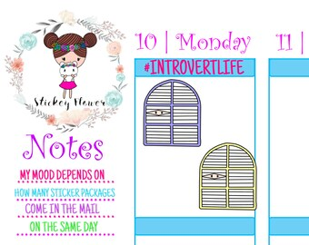 Wallflower  - Introvert, Antisocial, Cute Stickers for Personal planners, Erin Condren Life Planners, Happy Planners or Scrapbooking