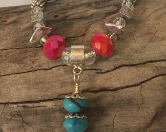 Silver, turquoise, red stretch bracelet with chinese crystals, daisy spacers, Magnesite