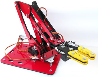 ArmUno 2.0 Robotic Arm Kit - Arduino and MeArm Compatable - Includes Laser Cut Parts - Servo Motors - Fasteners - MeCon Motion Control