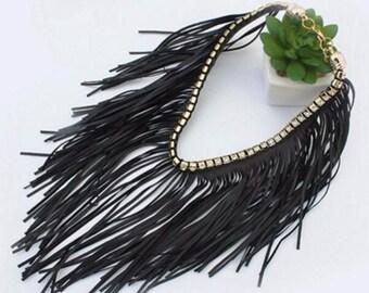 Lulu AZ Black Faux Leather Fringe Choker Necklace w/ Rhinestone Collar NEW RFC1