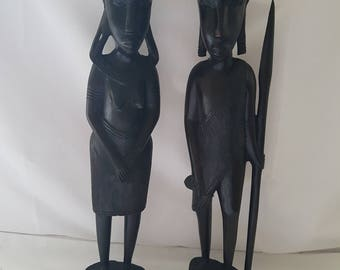 Two Wooden Tribal Figures