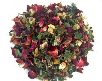 A Calming Chamomile Tea: Tranquili-Tea, bedtime tea, caffeine free, raspberry leaf tea, herbal tea, loose tea, tea gift, gift for tea lover,