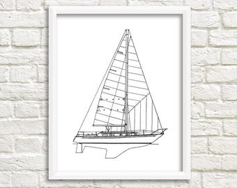 Sailboat blueprint etsy sailboat wall art nautical decor boat blueprint sailboat instant download nautical malvernweather Image collections
