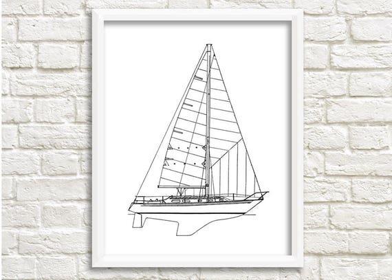 Sailboat wall art nautical decor boat blueprint sailboat malvernweather Gallery