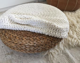 Crochet Ottoman Slipcover, Pouf Stool Cover, Stool Coverage, Bespoke Crochet Cover, Knit Pouffe Cover, Handmade Floor Cushion Coverage