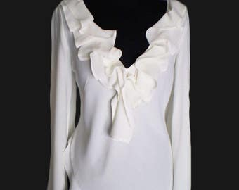 White long sleeve ruffled blouse tunic of fine viscose White Tunic Dress White Blouse Cotton Top