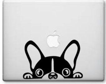 Peeking french bulldog face decal -macbook pro or car window- Frenchie Decal - Laptop Decal -Frenchie Vinyl -Yeti Cup Decal -