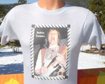 vintage 70s t-shirt ROBIN TROWER procol harum rock guitar tee Medium Small 80s iron on