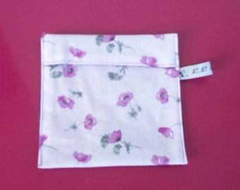 feminine purple floral design fabric protective pouch