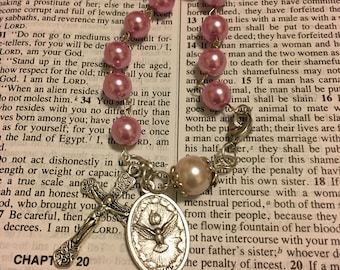 Silver Holy Spirit Pink Pearl Rosary Bracelet