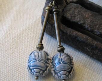 blue scarab dangle earrings