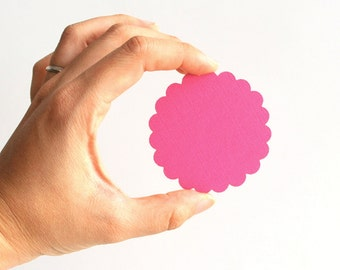 32 Pink Die cuts, Scalloped Circles die cuts (2.5 inches) in Light Pink Textured Cardstock A142