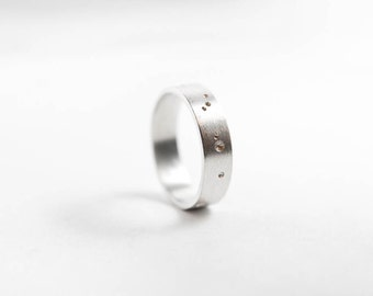 Mens Silver Ring, Constellation Ring, Brushed Silver Ring, Gift for him