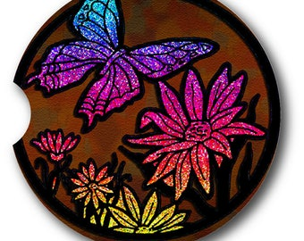 Stained Glass Glitter Look Butterfly Absorbent Sandstone Car Coaster