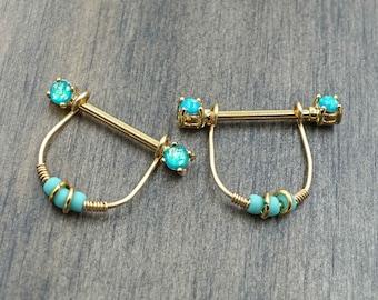 Teal Opal Glitter Gold Nipple Ring Nipple Piercing