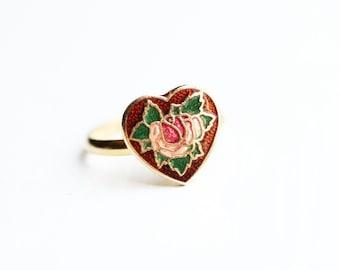 Rose Heart Ring, Enamel Heart Ring, Heart Ring, Red Ring, Gold Heart Ring, Enamel Ring, Flower Ring, Red Enamel Ring, Small Gold Ring, Ring