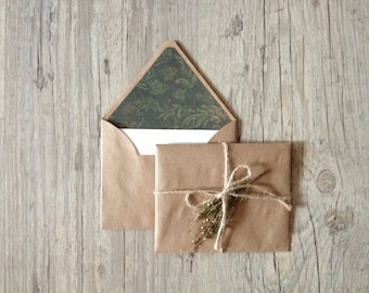 Writing paper - crafted writing set - handmade stationary - green brown - recycled kraft paper envelopes - eco friendly - cotton paper