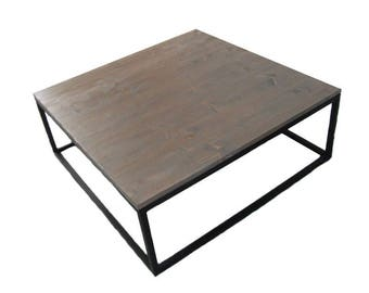Table industrial grey wood and steel coffee / loft Design Line