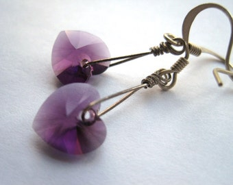 Amethyst Swarovski Crystal Heart Earrings, February Birthstone, Gift for Her