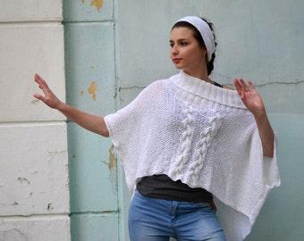 Winter Wool Poncho, Aran Wool Sweater, Oversized Cap Coat, Plus Size Cap, white wrap poncho, roomy sweater poncho, winter wedding wrap