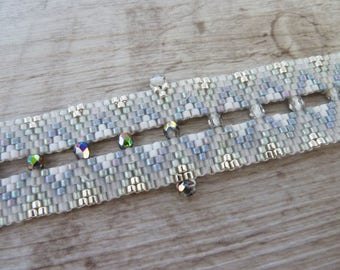 grey white woven Cuff Bracelet and faceted wedding beads