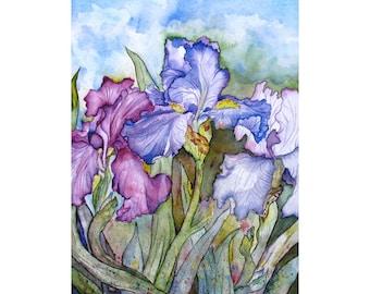 Purple Irises Watercolor Painting, Iris Flower Wall Art Prints, 8x10