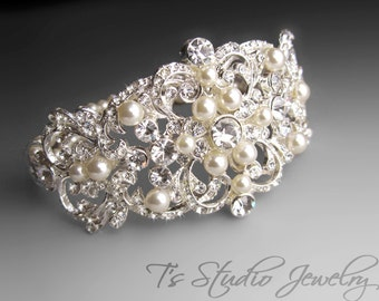 Pearl Bridal Cuff Bracelet with Rhinestones - OLIVIA