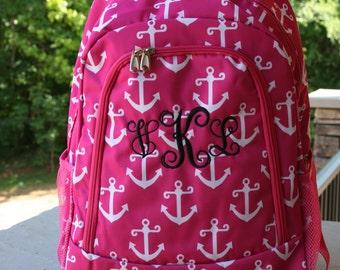 Girls Monogram Backpack Pink Anchors Girls Personalized Bookbag