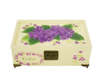 Personalized Jewelry Box - Hand-Painted Purple Violets - Girl's First Jewelry Box Custom Christening Gift Monogram Jewelry Box Baptism Gifts