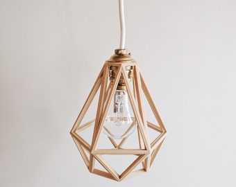 x2 Industrial Vintage Suspension / Light / Shade / Pendant Light cage wooden 3D printed Diamond