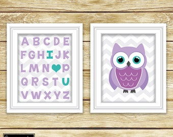 I Love Heart You Alphabet Teal Purple Owl Wall Art Nursery Girl's Room Decor ABC's Printable Set of 2 11x14 Digital JPG Instant Download- 54