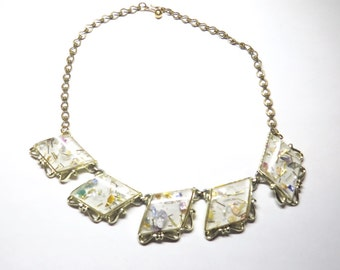 Fun Vintage 1950s Lucite Confetti Necklace w Adjustable Chain
