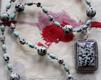 FIRE DOG Necklace (Dalmatian Jasper, Turquoise, Sterling Silver)