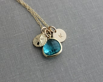 Gold Sand Dollar and Teal Green Bezel Set Glass Briolette with Gold Filled Initial Necklace, Personalized, Sea Green, Turquoise