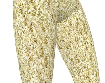 Steamed White Rice Photo Print, High Waist Womens Stretch Leggings  / Yoga Pants