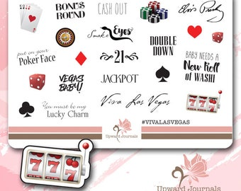 Planner Stickers Casino, Las Vegas, Gambling, Vacation, Roulette, Poker, Cards, Blackjack, Decorative, Deco, Planning, Printed, Labels