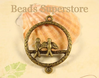 35 mm x 28 mm Antique Bronze 3D Bird Link / Connector  - Nickel Free, Lead Free and Cadmium Free - 4 pcs (NBL16)