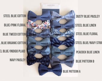 Steel blue bow tie - steel blue cotton bowtie-peacock blue linen bow tie-grooms bowtie- groomsmen bowtie- ring bearer's bowtie-Daddy and son