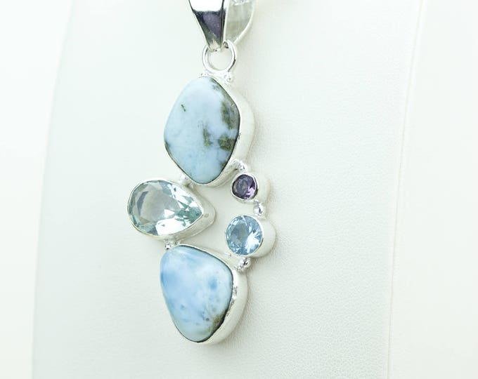 Swiss Blue Topaz Larimar 925 S0LID Sterling Silver Pendant + 4MM Snake Chain & Worldwide Shipping p4071
