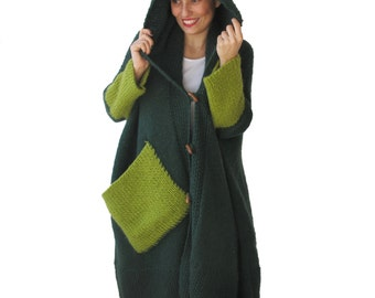 NEW! Plus Size Over Size Emerald Green Mohair Overcoat - Poncho - Pelerine with Hood and Citrine Pocket