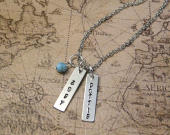 Handsamped Tag Necklace- Nickel Silver- Mothers Gift