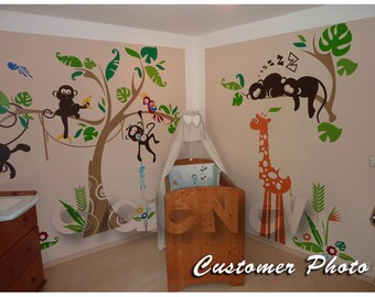 Jungle Wall Decals   Monkey On The Tree Wall Stickers With Giraffe And  Parrot   PLJN010L