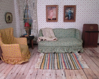"""Vintage  Dollhouse Living Room Furniture - Upholstered Sofa and Chair - 1"""" Scale"""